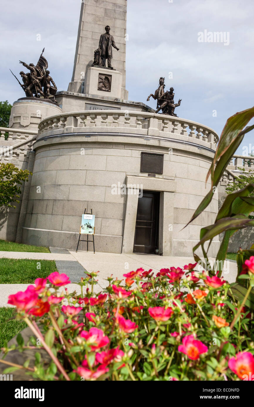 Springfield Illinois Oak Ridge Cemetery Abraham Lincoln Tomb and War Memorials State Historic Site memorial monument - Stock Image