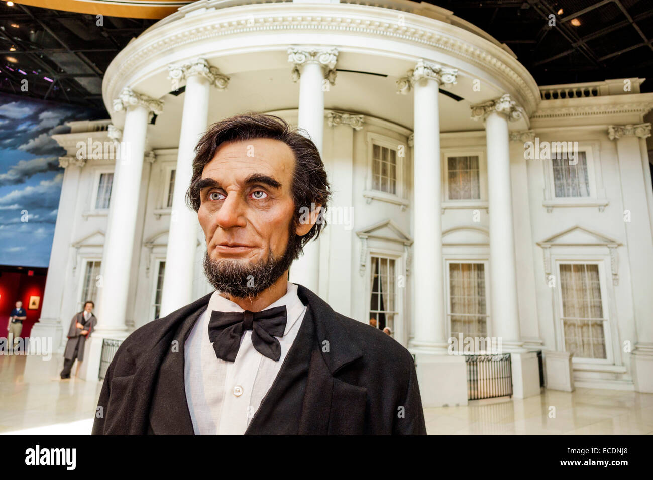 Springfield Illinois Abraham Lincoln Presidential Museum inside life-size life-like statue The White House - Stock Image