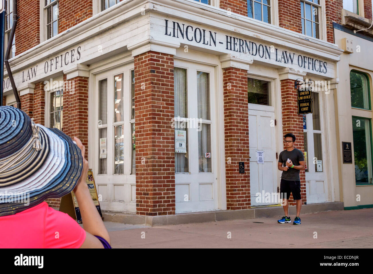 Springfield Illinois downtown historic buildings Old State Capitol Plaza Abraham Lincoln-Herndon Law Offices Asian - Stock Image