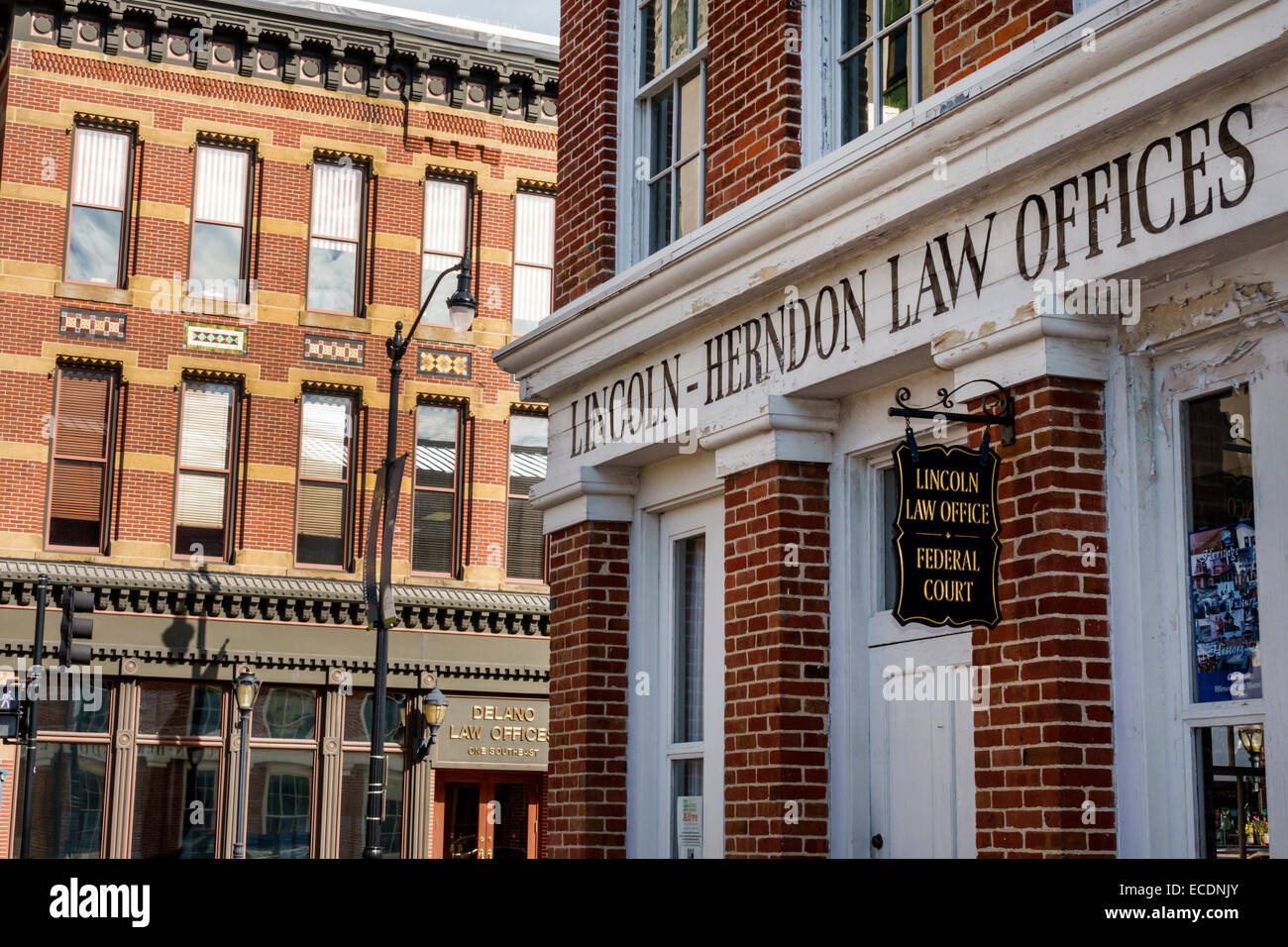 Springfield Illinois downtown historic buildings Old State Capitol Plaza Abraham Lincoln-Herndon Law Offices - Stock Image