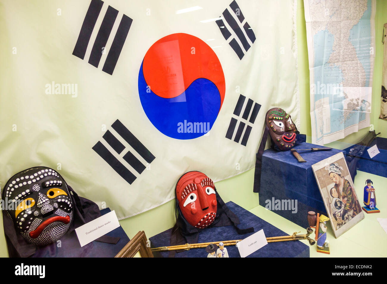 Springfield Illinois Old State Capitol Plaza Korean War Veteran National Museum & Library inside exhibit collection - Stock Image
