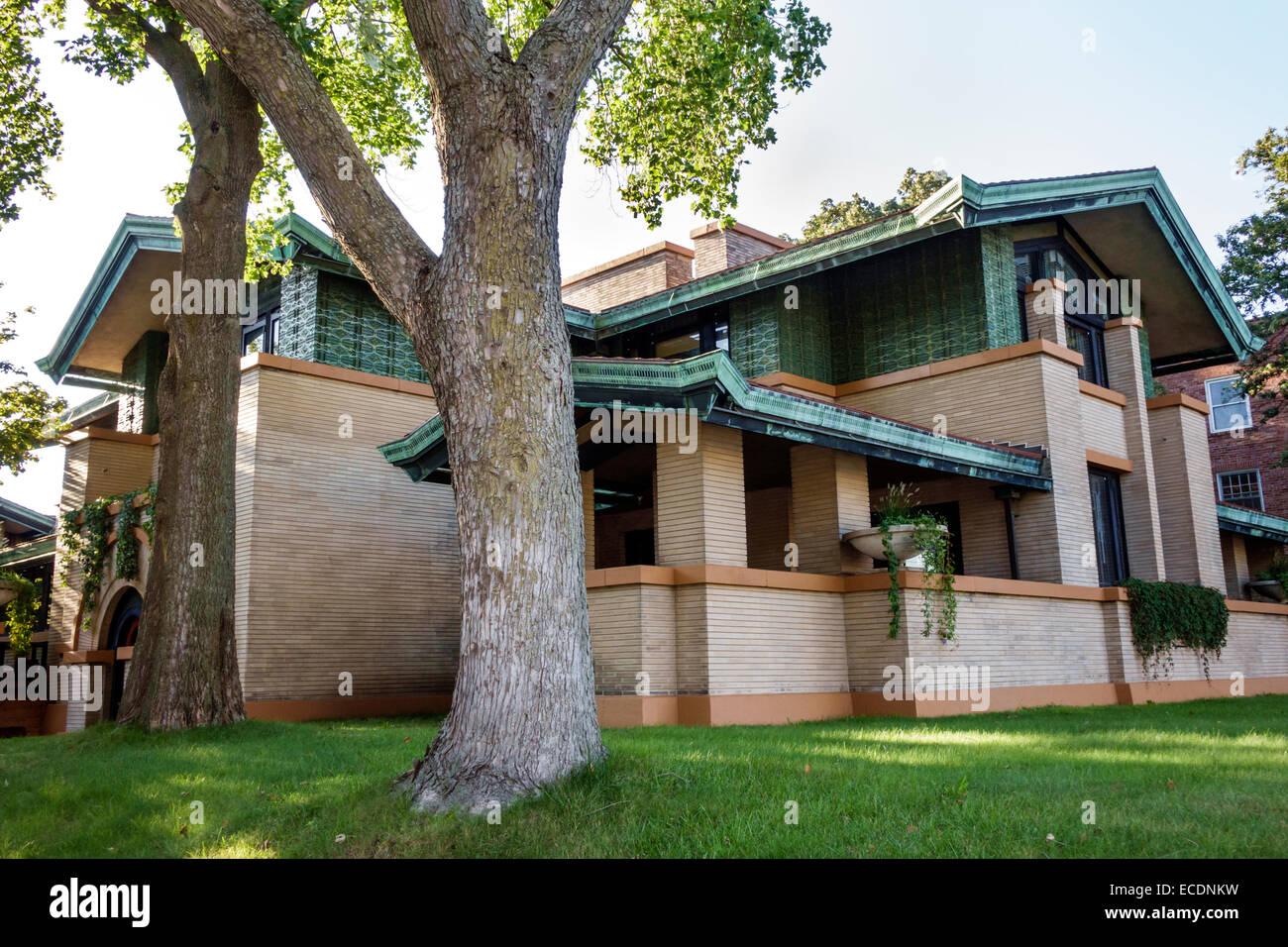 Springfield Illinois Aristocracy Hill Dana-Thomas House State Historic Site Frank Lloyd Wright architect Prairie - Stock Image