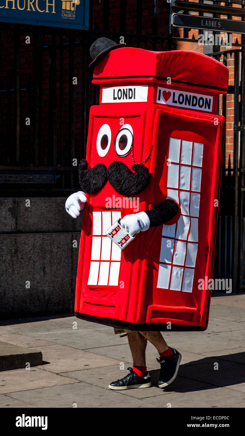 A Man Dressed As A Red Telephone Box, Covent Garden, London, England - Stock Image
