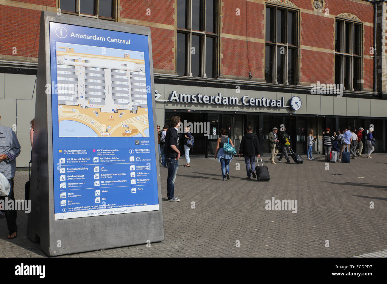 amsterdam centraal central train station map direction outdoor Stock
