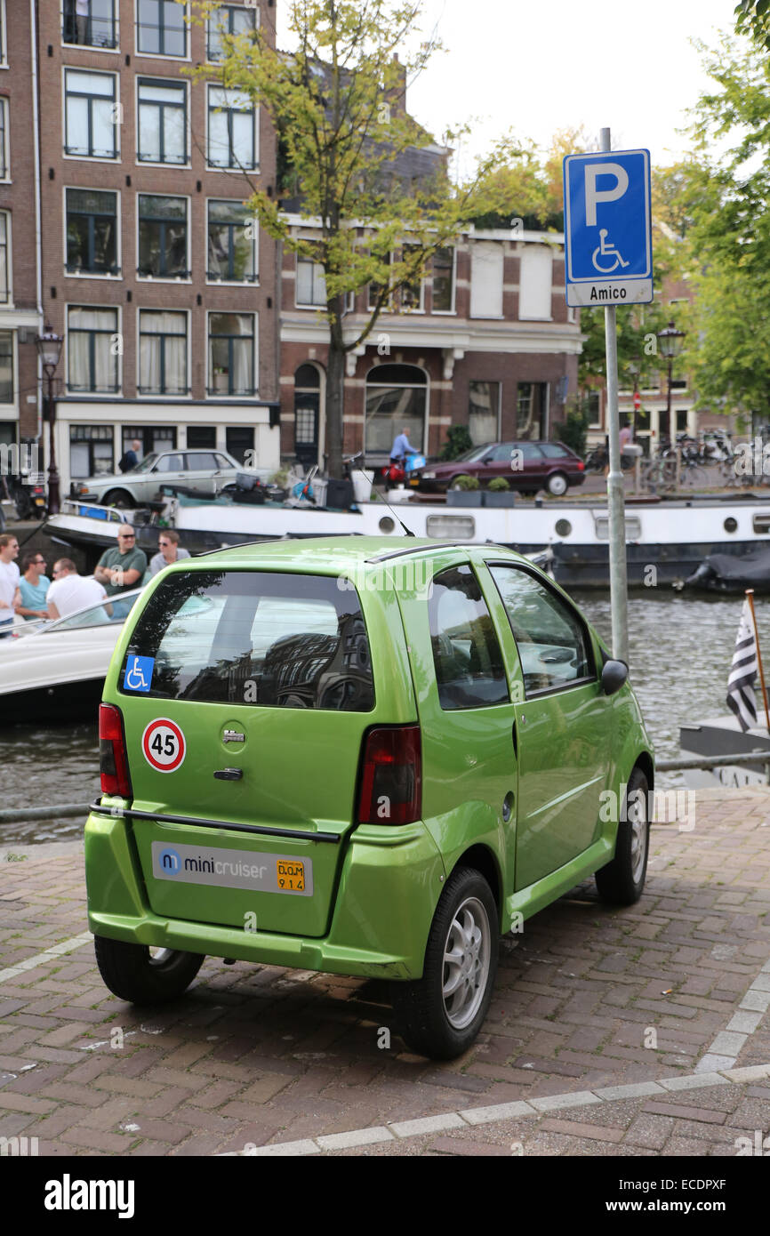 disability parking spot europe holland amsterdam - Stock Image