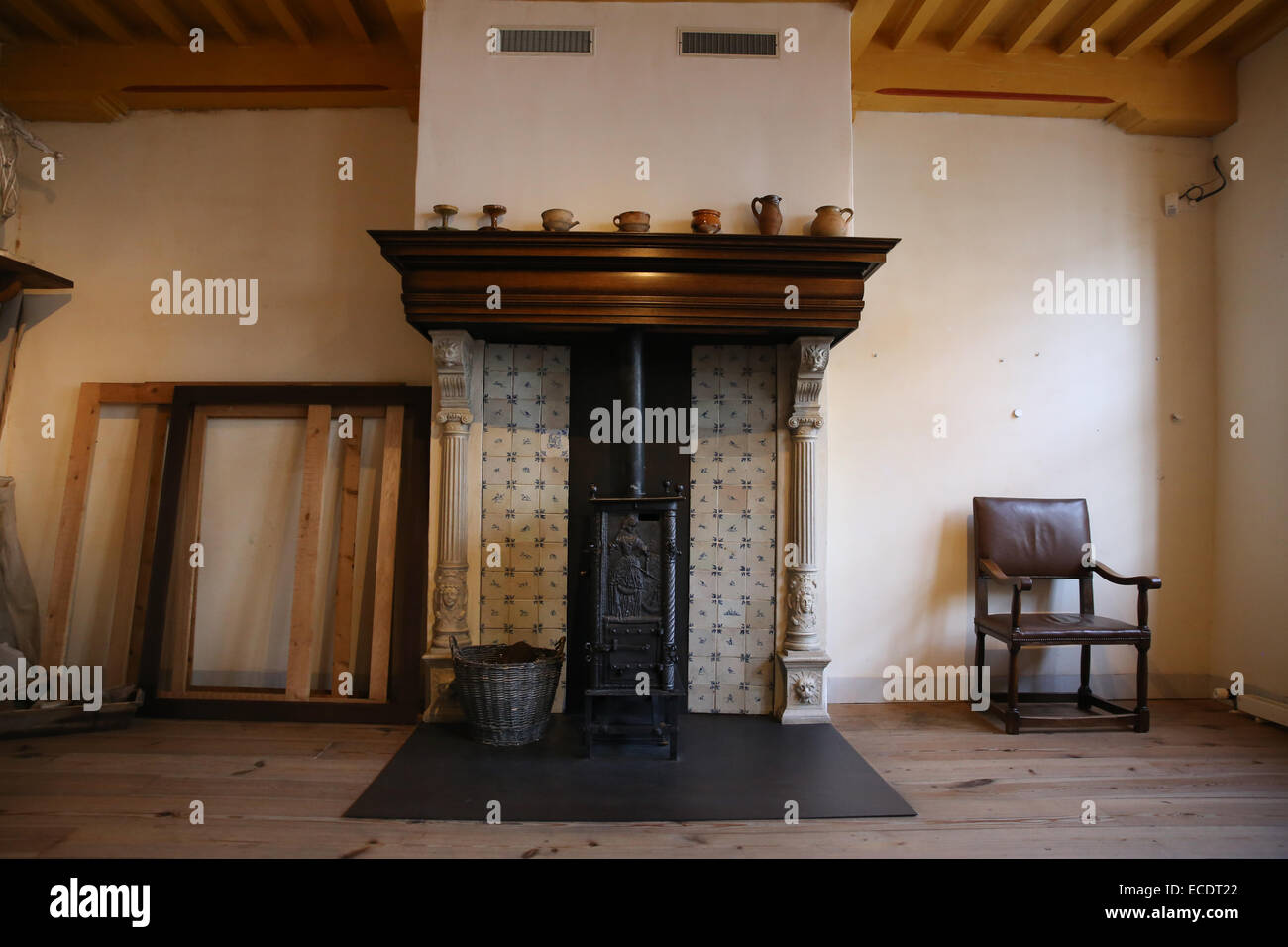 Rembrandt House Museum fire place Amsterdam - Stock Image