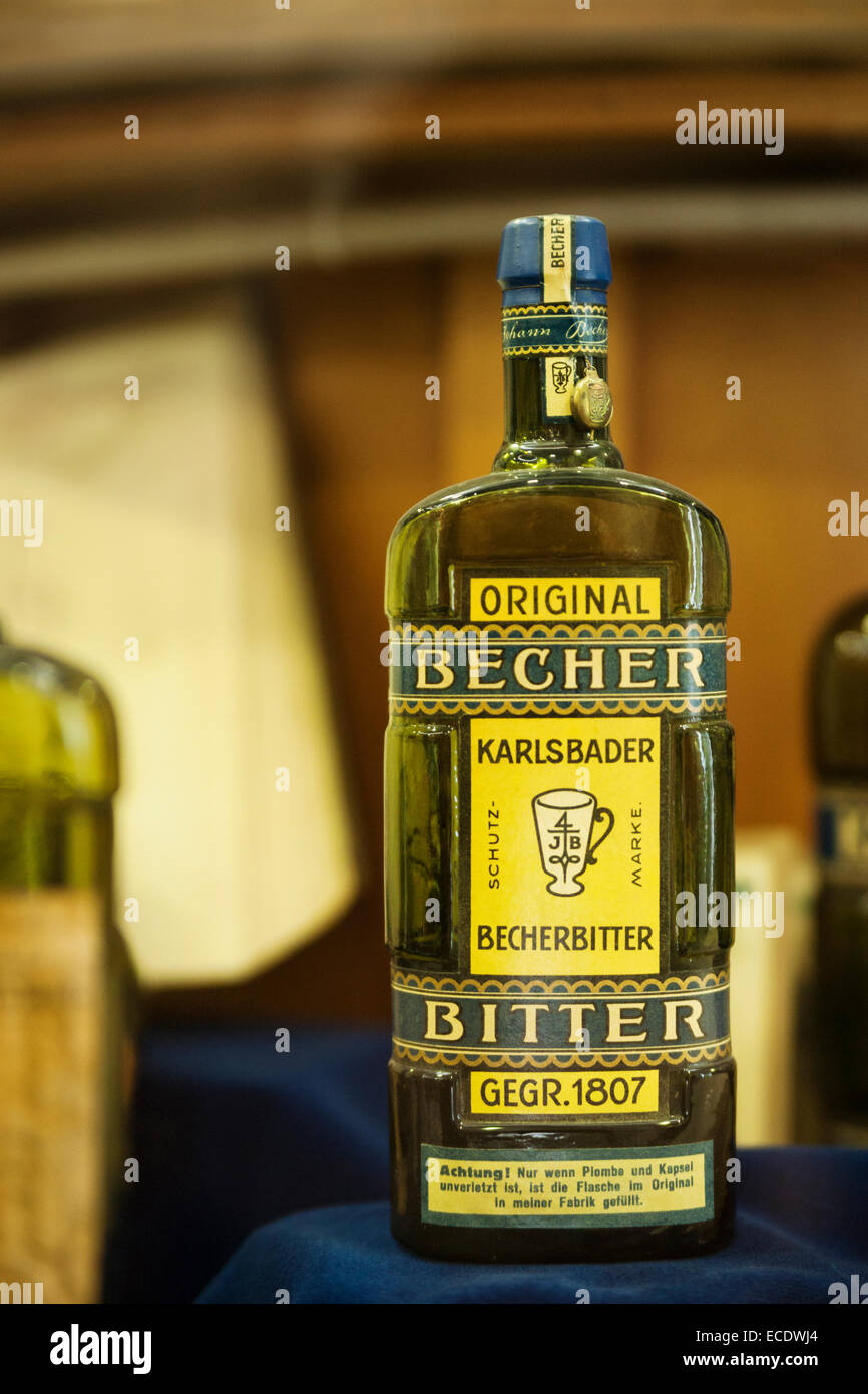 Bottle of the original Becher herbal liquor created and bottled in Karlovy Vary (Karlsbad) using thermal waters; - Stock Image