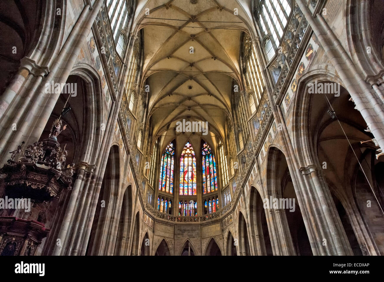 Gothic Interior Ceiling In Nave Of St Vituss Cathedral Pragues Distinctive Landmark Prazsky Hrad Castle District