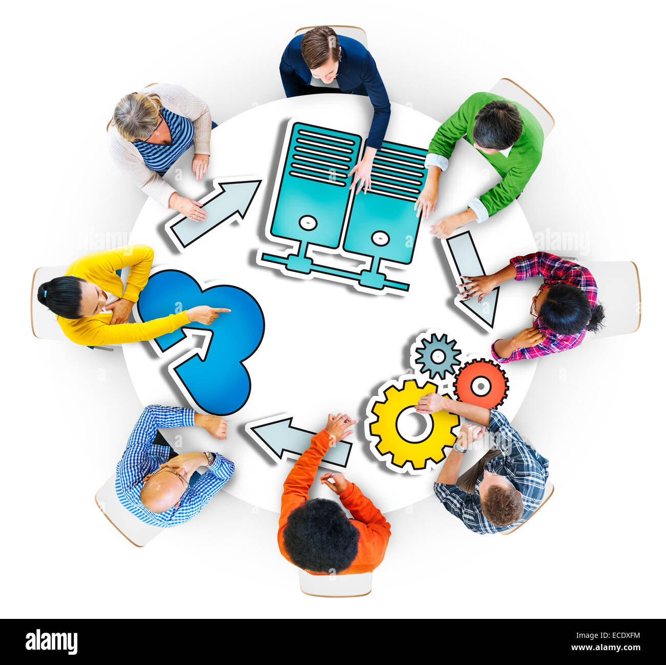Group of People Brainstorming with System Concepts - Stock Image