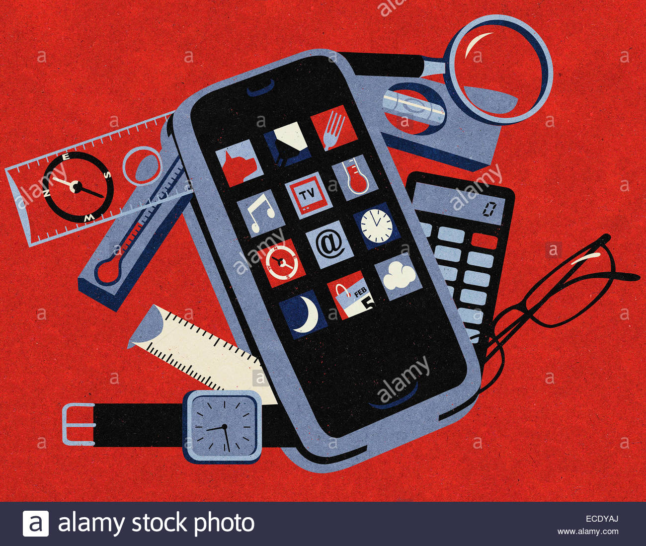 Useful mobile apps on handy smart phone tool kit - Stock Image