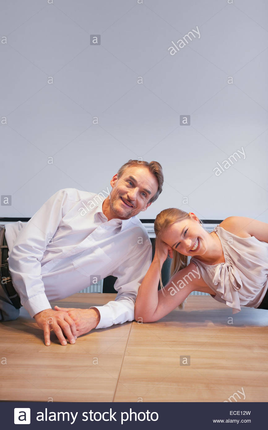 Man woman flirting romantic conference office - Stock Image