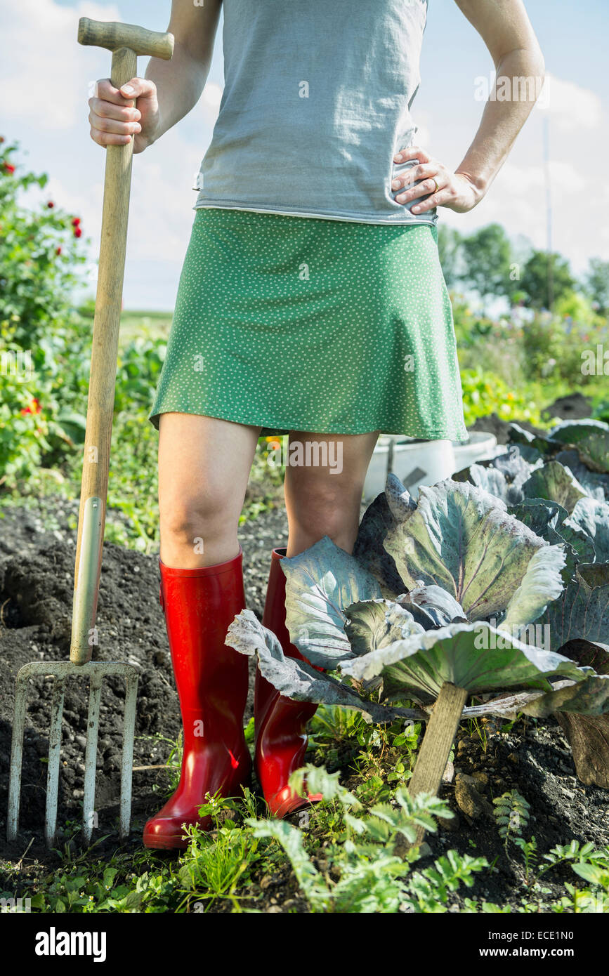 Woman vegetable garden fork wellington boots - Stock Image