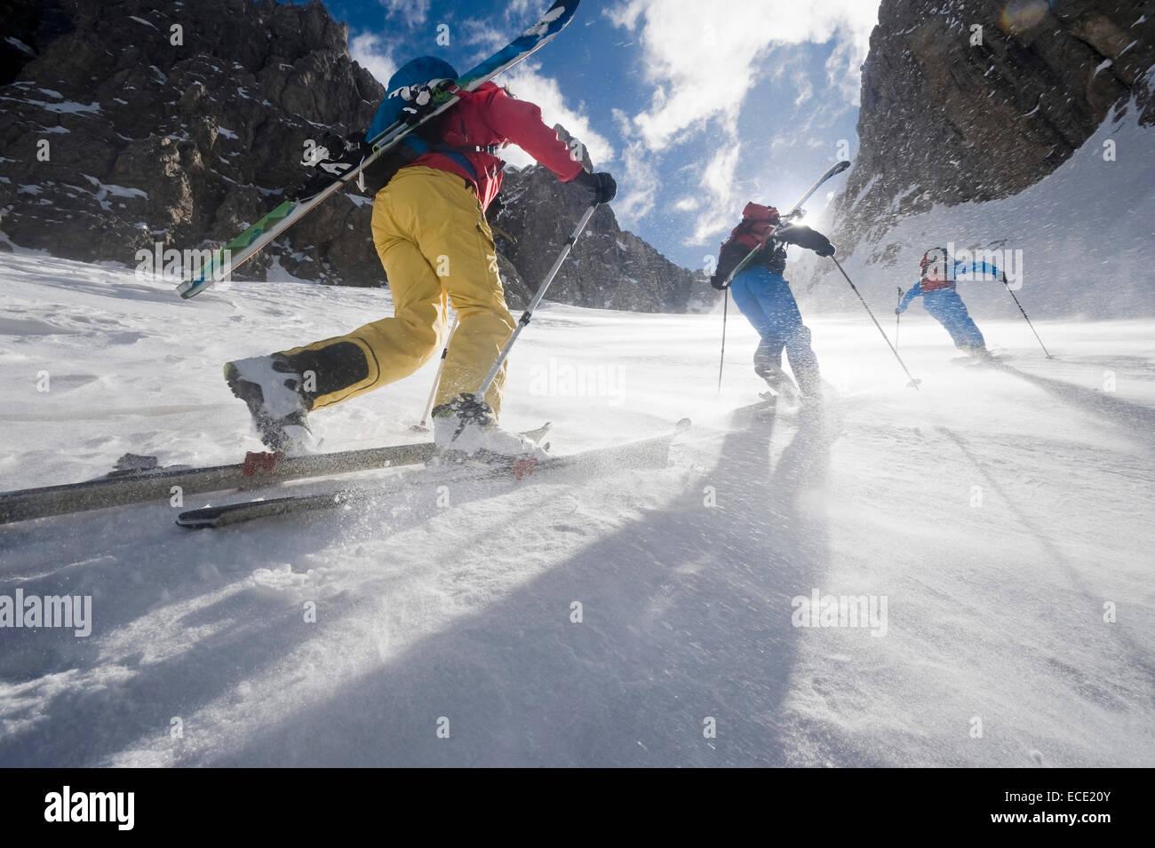 Men on a ski tour, Santa Cristina, Valgardena, Alto Adige, Italy - Stock Image