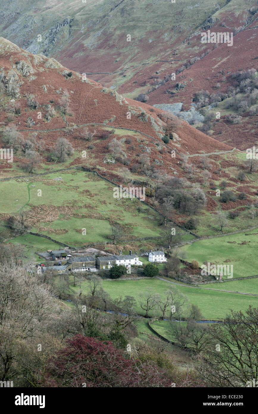 Troutbeck Park Farm building sit at the Southern end of the Tongue in Troutbeck near Windermere in the English Lake - Stock Image