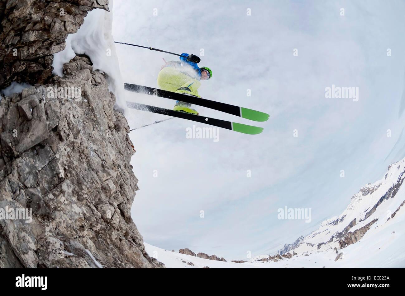 Man skiing downhill, Santa Cristina, Valgardena, Alto Adige, Italy - Stock Image