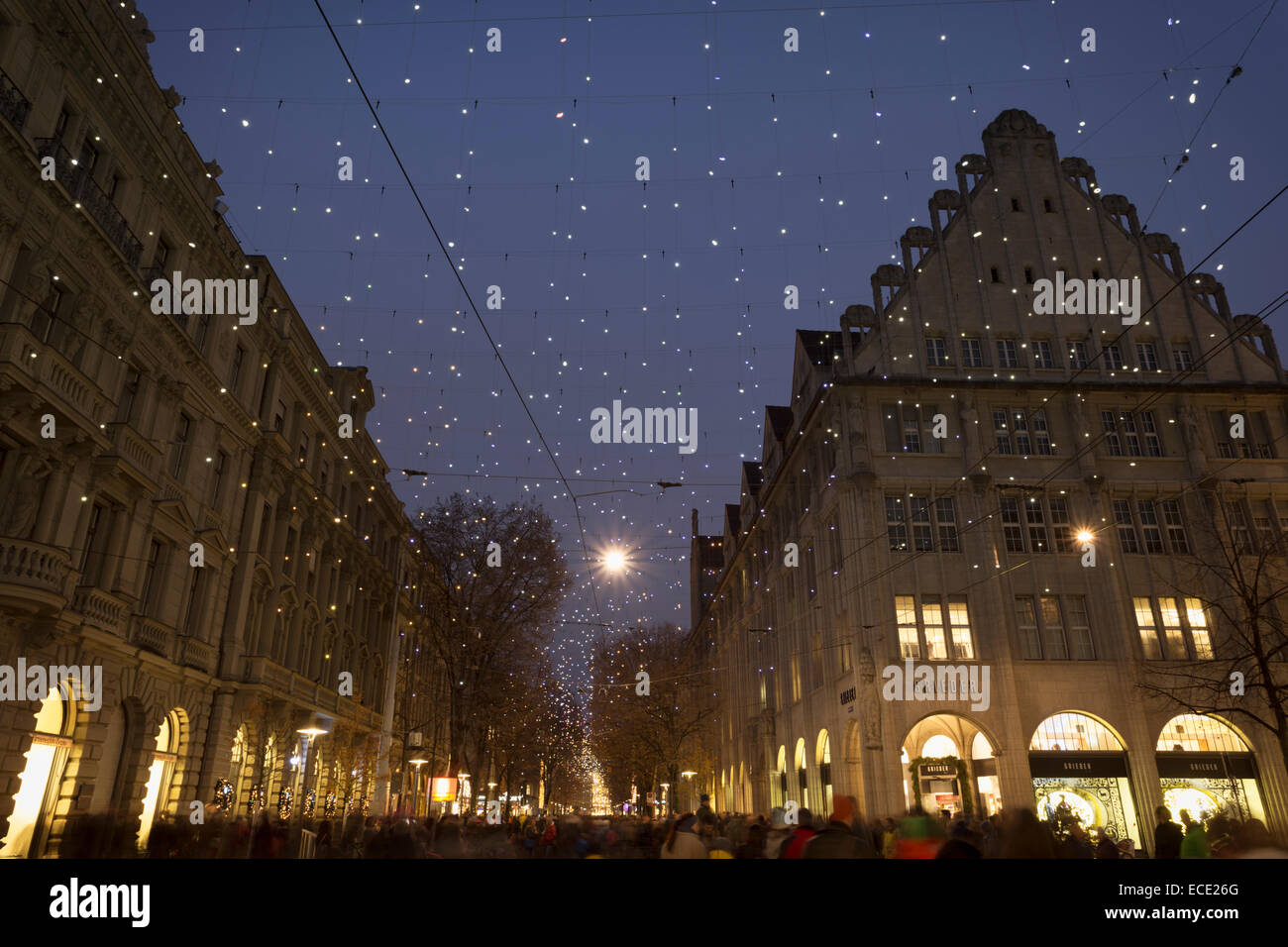 Christmas illumination Lucy over the Bahnhofstrasse, Zurich, Switzerland. - Stock Image