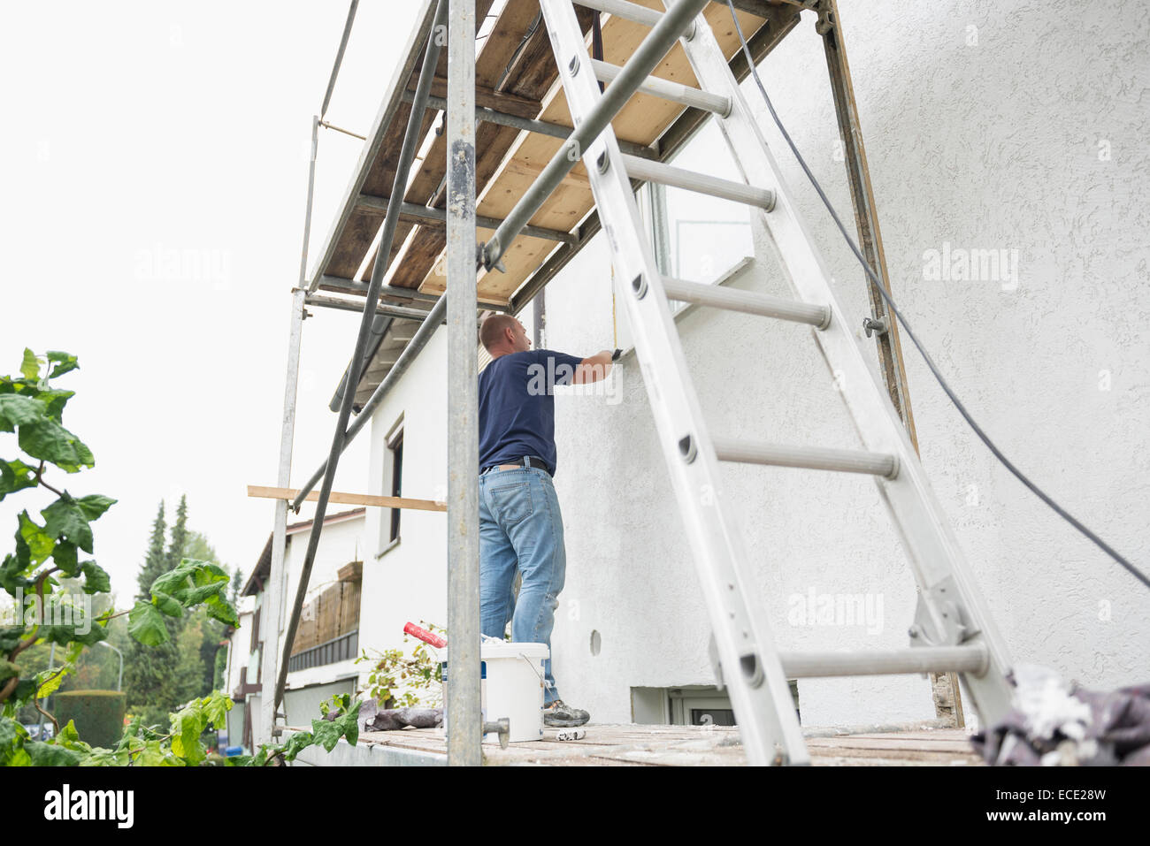 Man House Scaffolding Painting Ladder Working Stock Photo