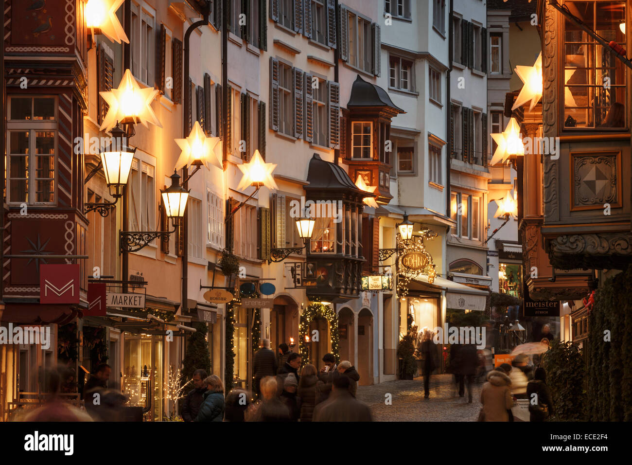 Christmas decoration of Augustinergasse in old town of Zurich, Switzerland. - Stock Image