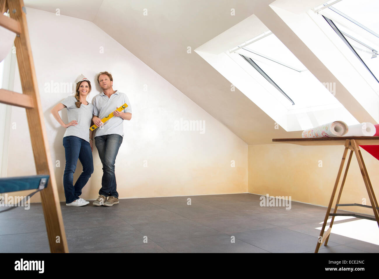 Planning decorating new home room couple Stock Photo