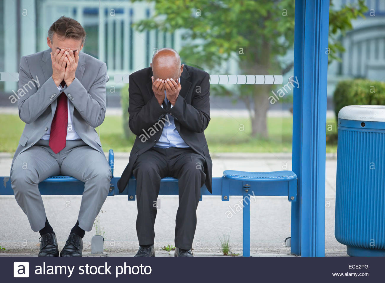 Men slump termination failure fear fired frustrated jobless - Stock Image
