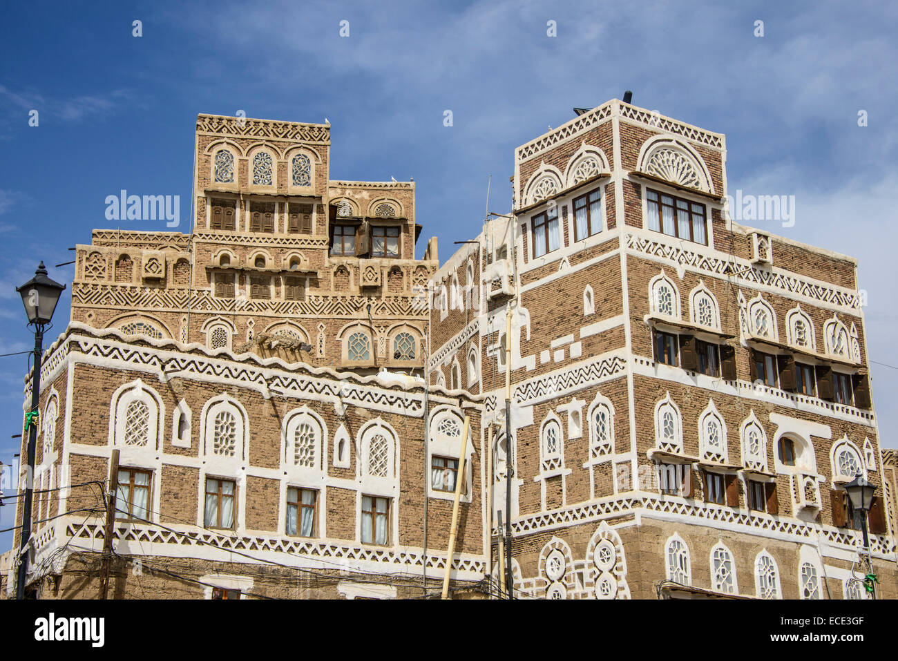 Traditional old houses in the old city of Sana'a, UNESCO World Heritage Site, Sana'a, Yemen Stock Photo