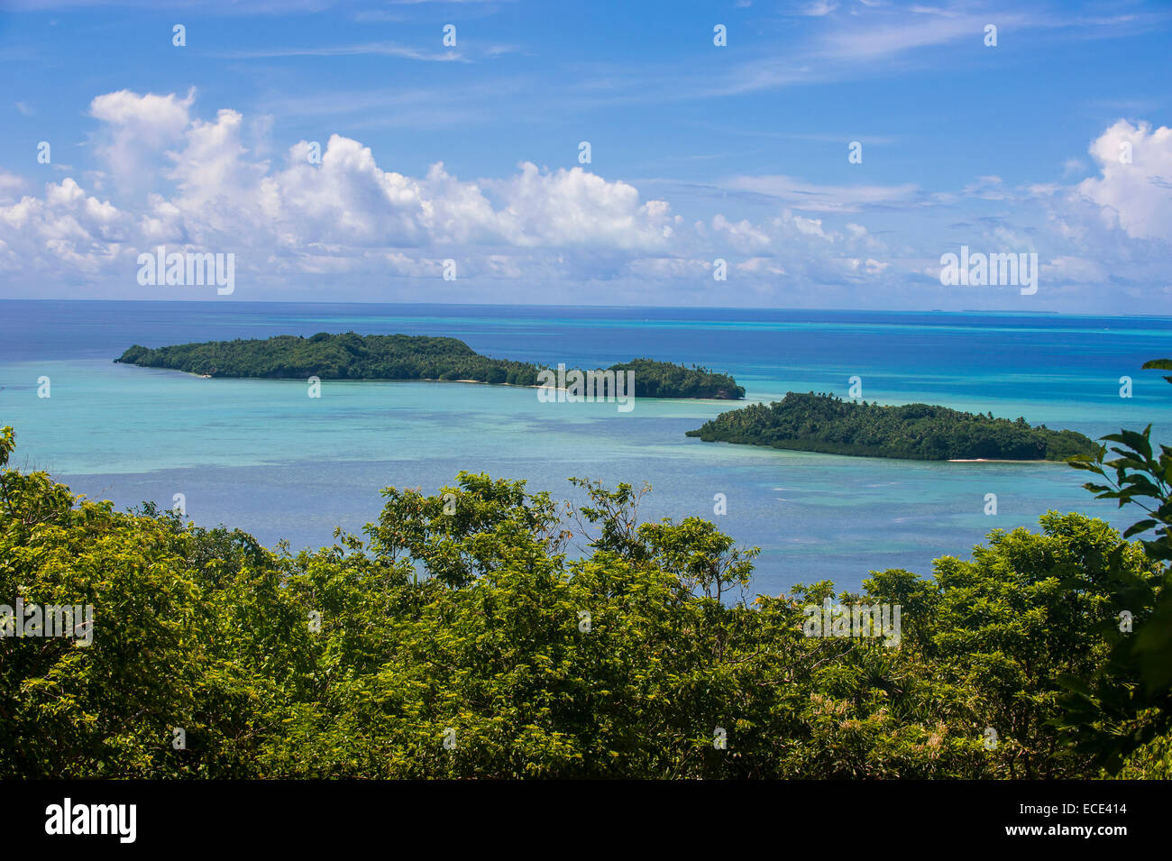 View over Babeldaob island and some islets, Palau, Micronesia - Stock Image