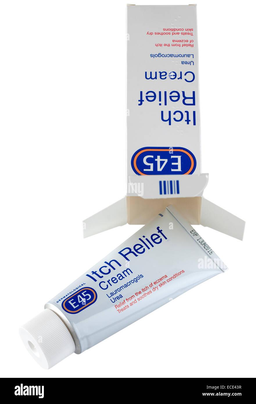 Tube of E45 cream itch relief  Lauromacrogols Urea - Stock Image