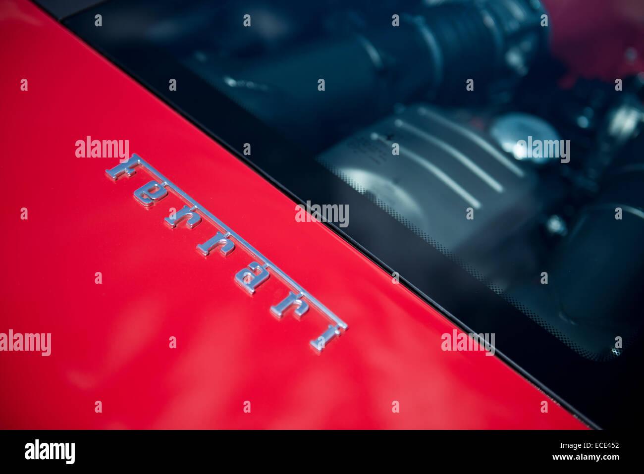 Ferrari chrome badge detail - Stock Image