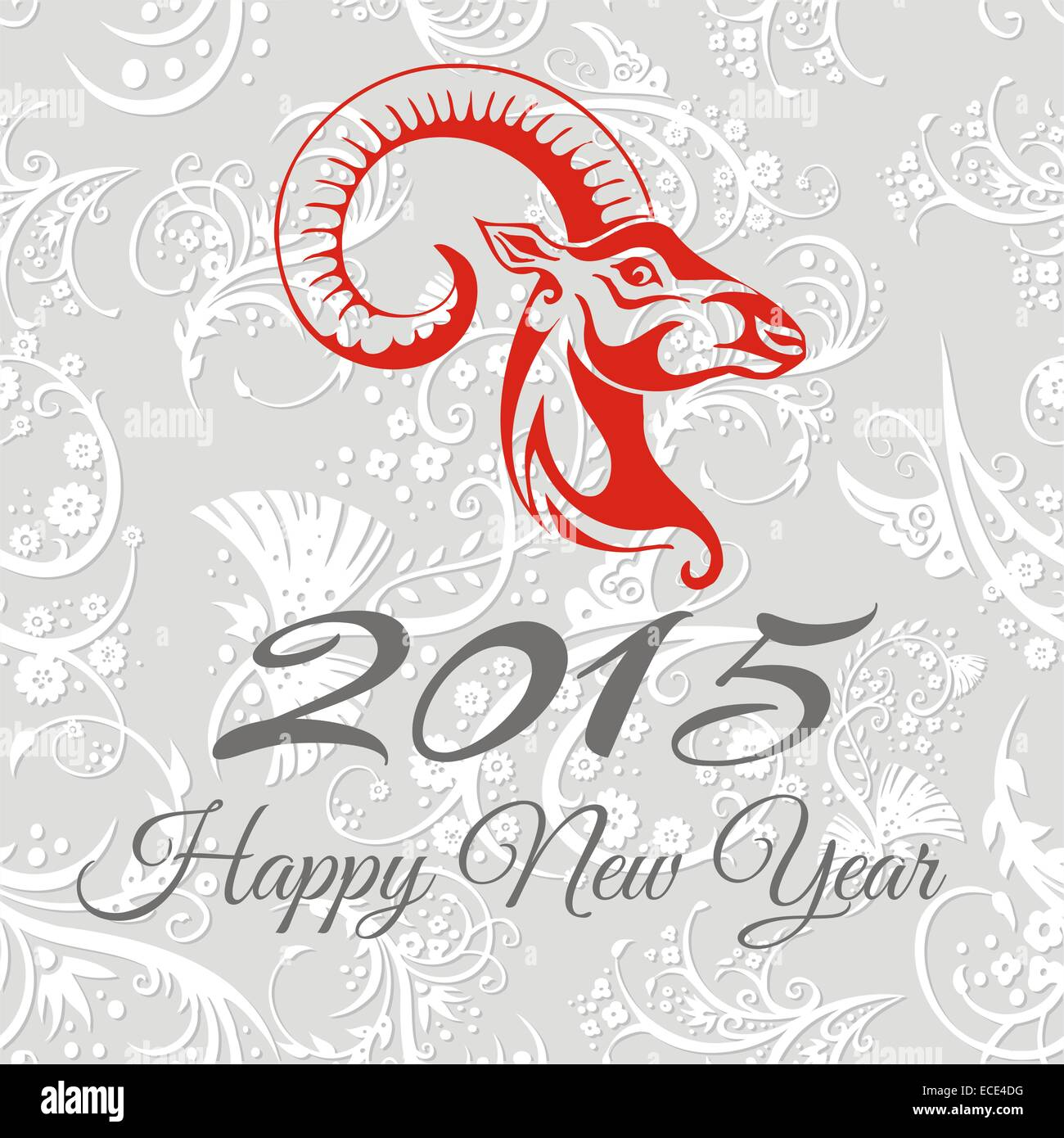 New year card with goat. vector illustration - Stock Image