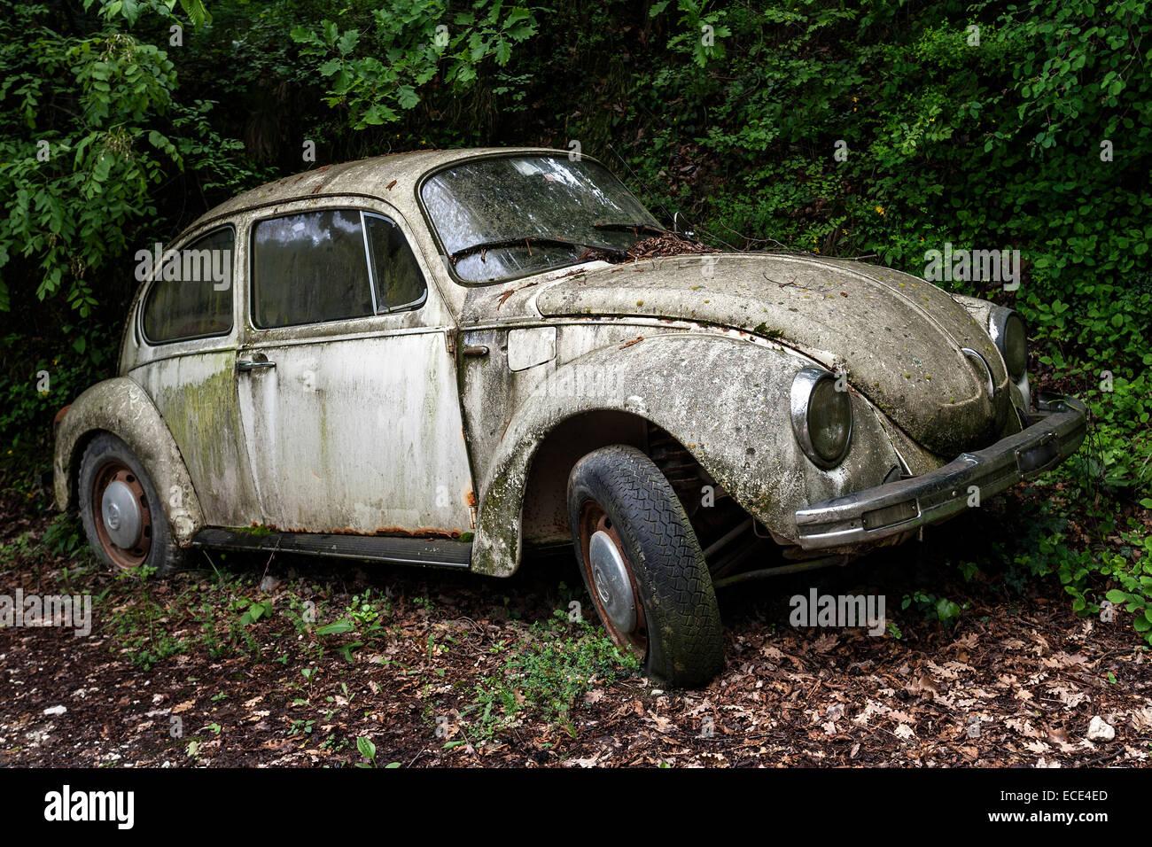 Junk car, old VW Beetle left in the woods, near Gardone, Lombardy ...