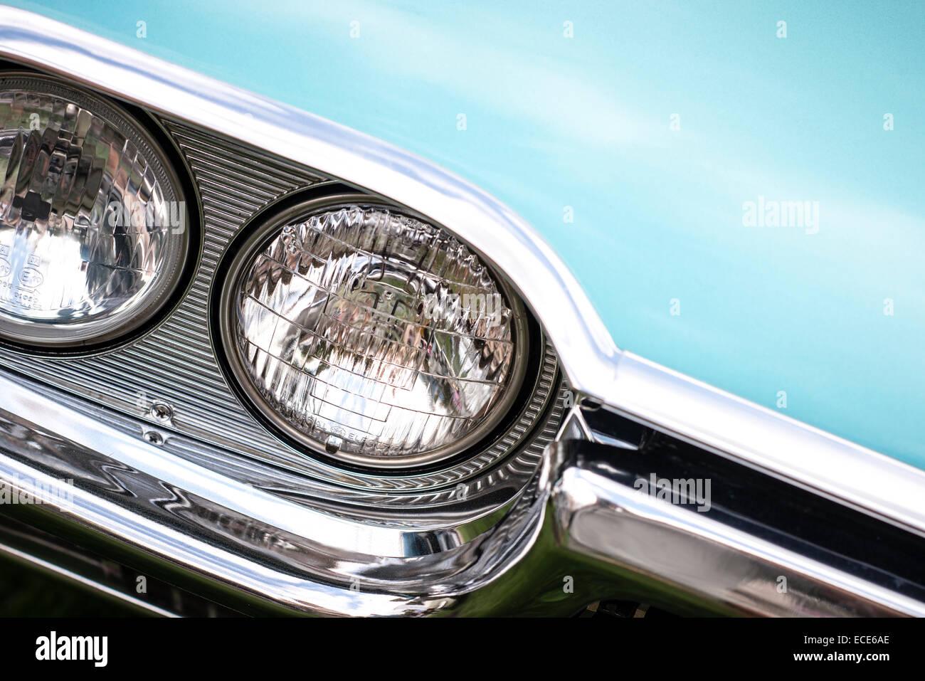 American classic headlamp chrome - Stock Image