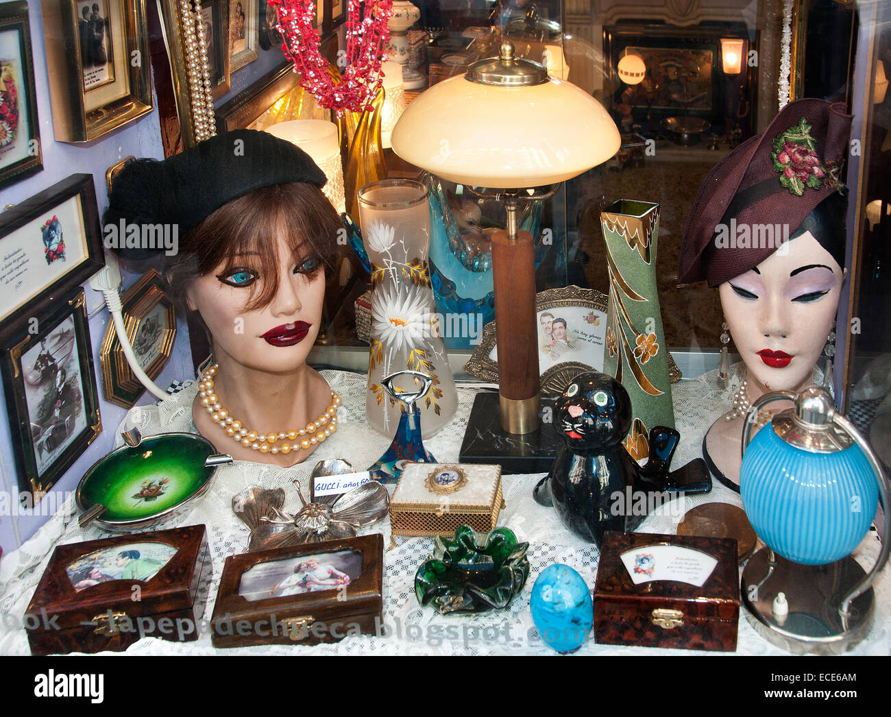 Madrid Spain El Rasto Flea market antique shop Calle Ribera de Curtidores - Stock Image