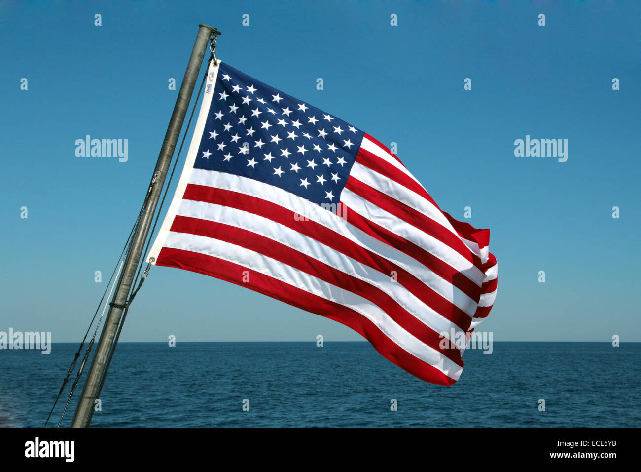Flagge Amerikanische Flag American Amerika Fahne Fahnen Amerikanisch typisch typical America Stars and Stripes red - Stock Image
