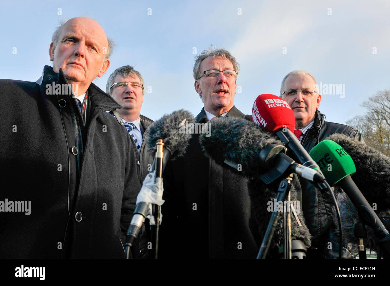 Belfast, Northern Ireland, 12 Dec 2014 - Michael McGimpsey, Tom Elliott, Mike Nesbitt and Danny Kennedy from the - Stock Image