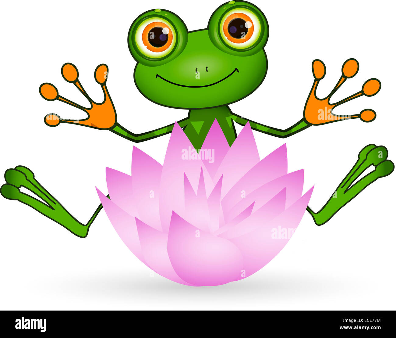 Illustration Cute Green Frog With Lotus Flower Stock Photo Alamy