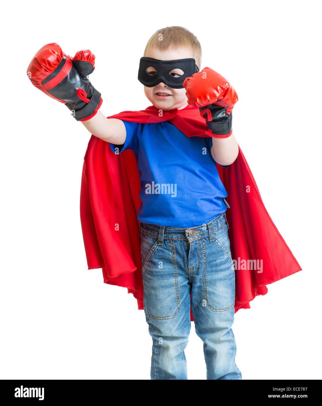 Superhero kid boy in mask playing isolated - Stock Image