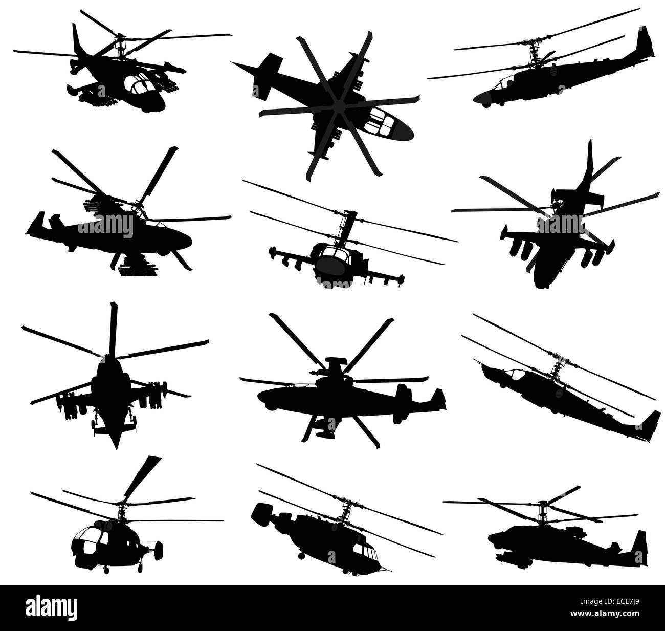 Military helicopter silhouettes set. Vector - Stock Image
