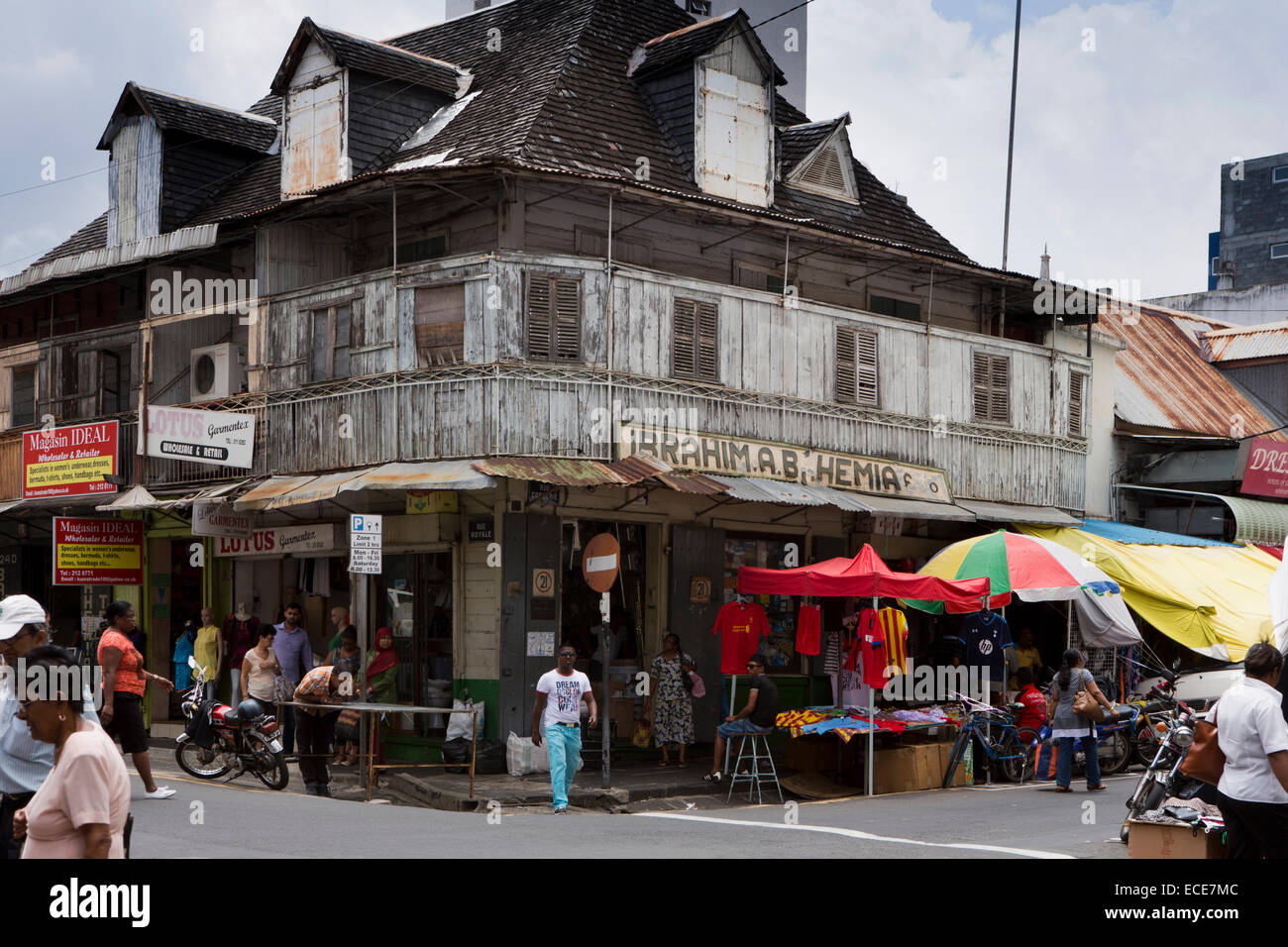 Mauritius, Port Louis, Rue Royale, old Moslem owned corner shop, in colonial era building - Stock Image