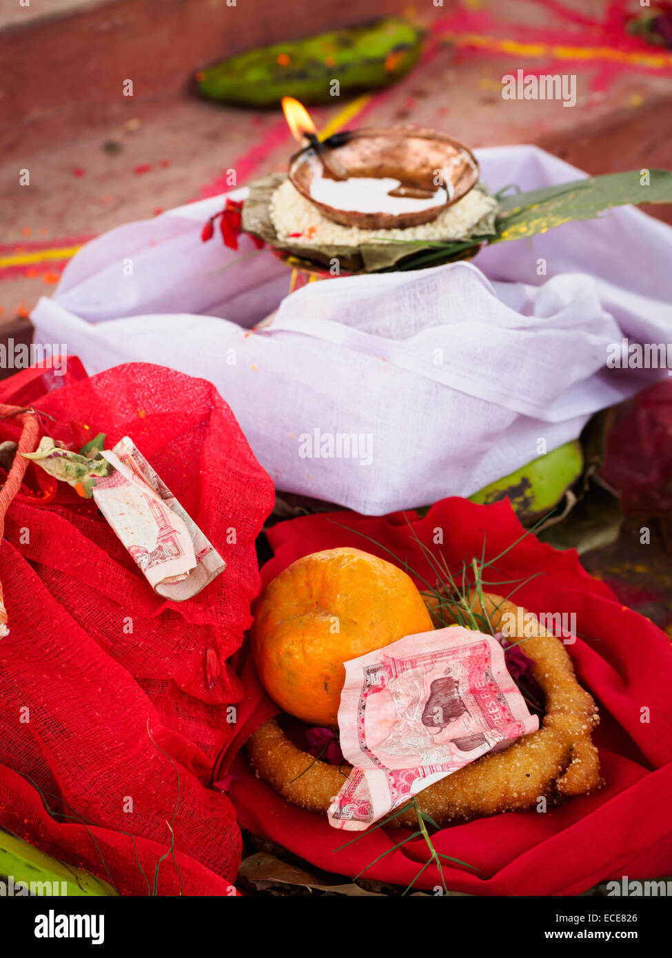 Offerings on the central altar at a Hindu wedding in Nepal Stock Photo