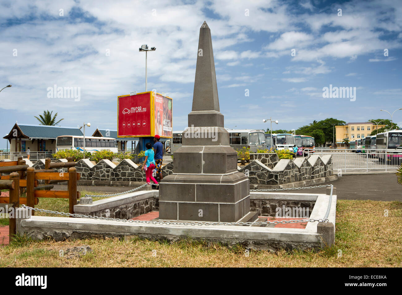 Mauritius, Mahebourg, seafront, memorial obelisk in public park - Stock Image
