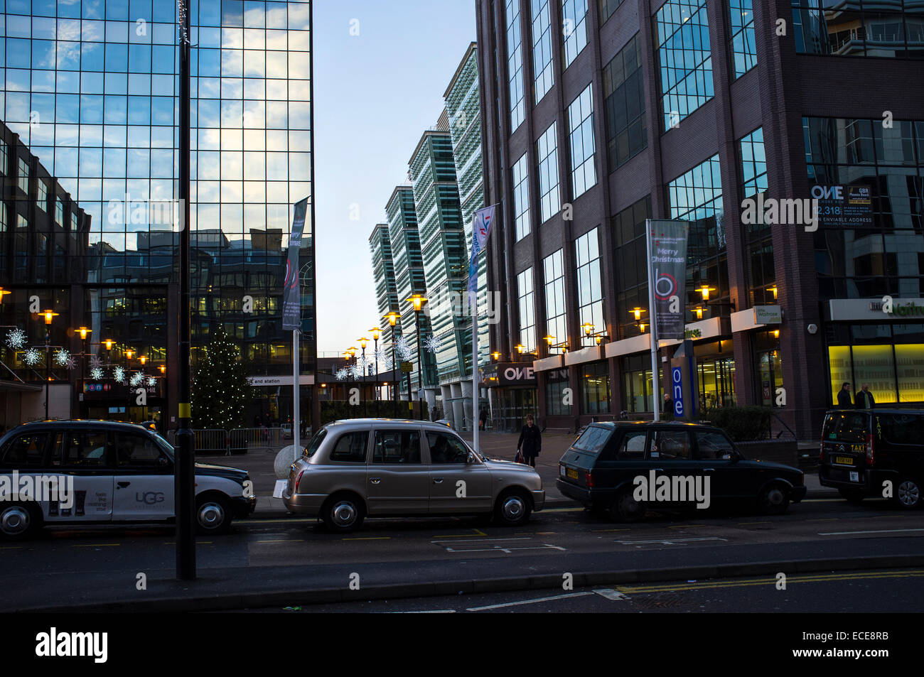 Snowhill train station at Colmore business and financial District and taxi rank Stock Photo