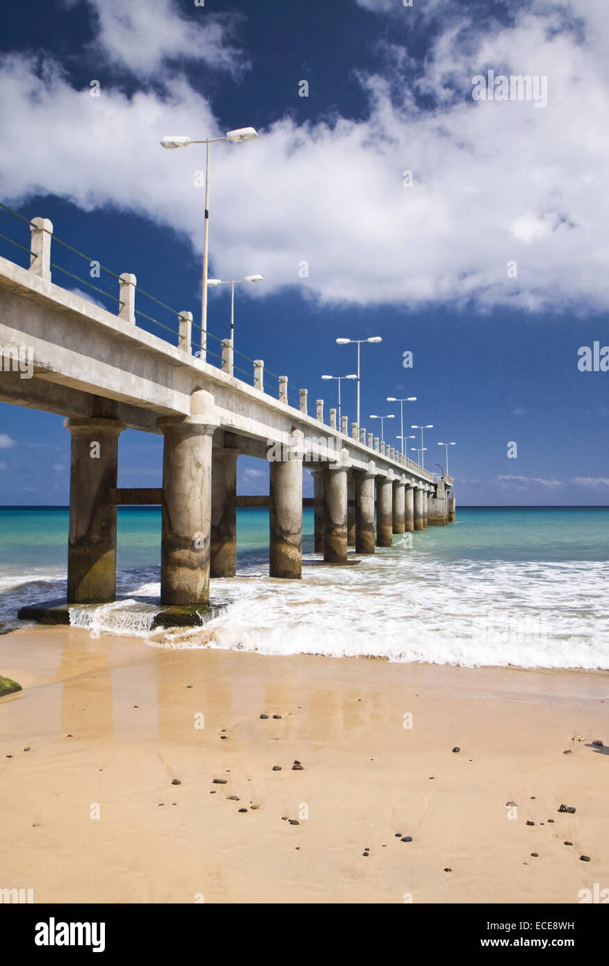 View from the bottom of the pier at Porto Santo in Portugal - Stock Image