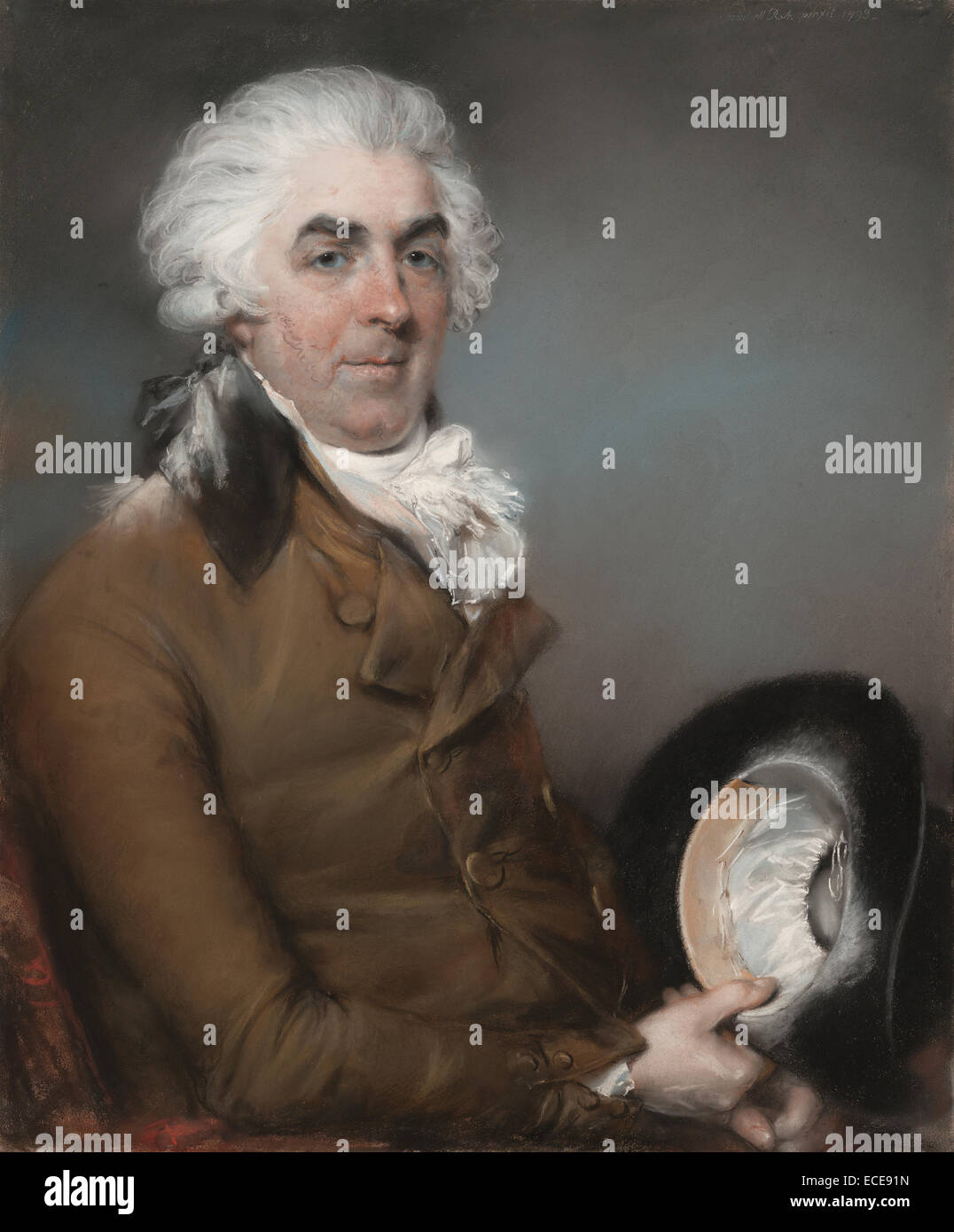 Portrait of George de Ligne Gregory (1740 - 1822); John Russell, R.A., British, 1745 - 1806; 1793; Pastel on paper, - Stock Image