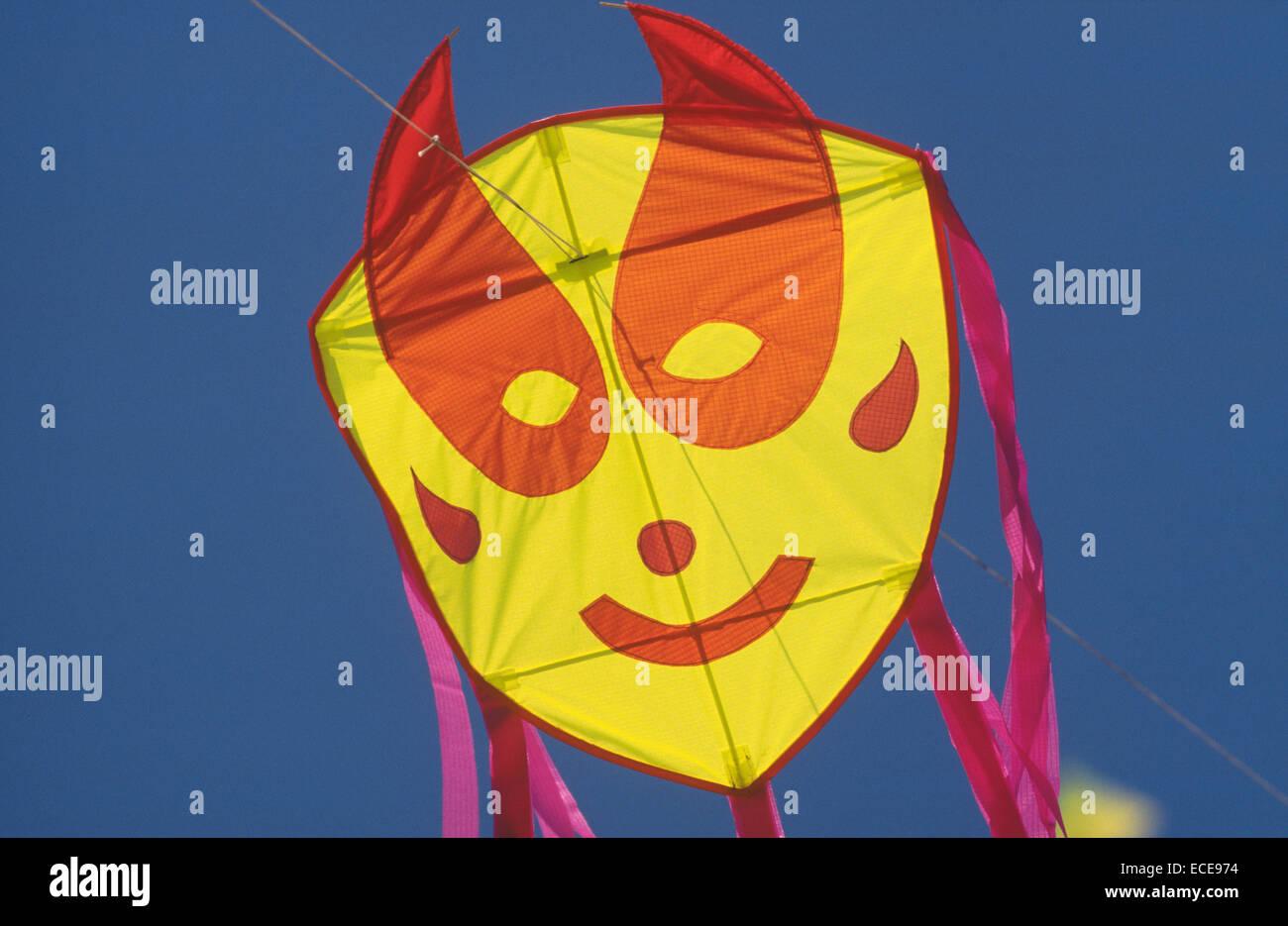 europe, italy, lazio, ostia beach, international kites meeting, face-shaped kite Stock Photo