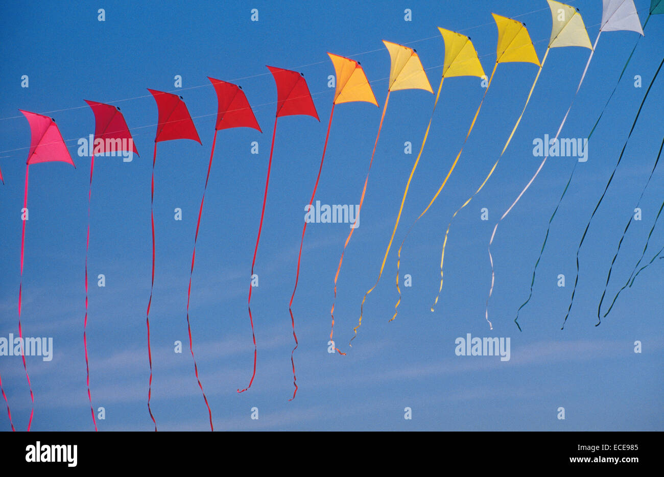 europe, italy, umbria, castiglione del lago, international kites meeting, acrobatic kites - Stock Image