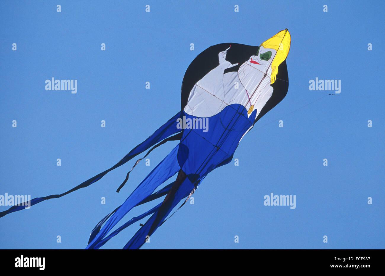 europe, italy, umbria, castiglione del lago, international kites meeting, woman-shaped kite - Stock Image