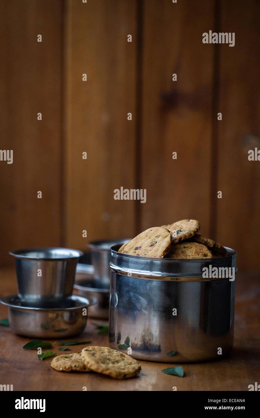 Baked savory crackers Stock Photo