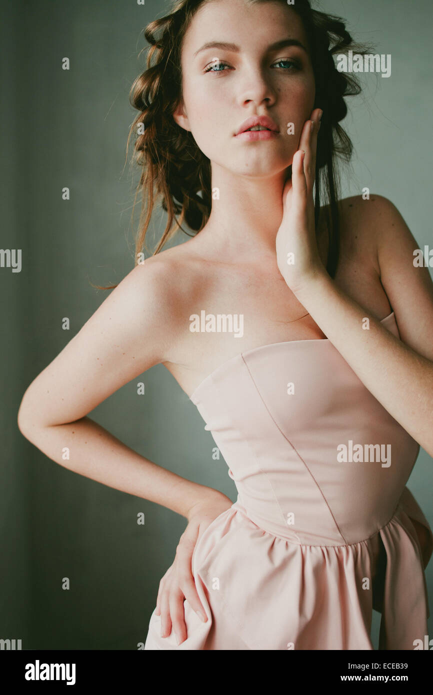 Teenage girl in a formal dress - Stock Image