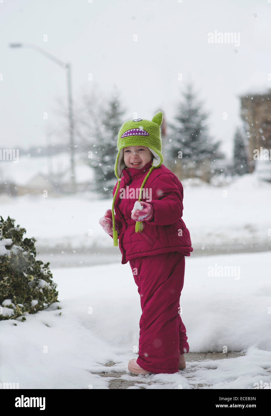 Toddler girl (2-3) with snowflake on her nose - Stock Image