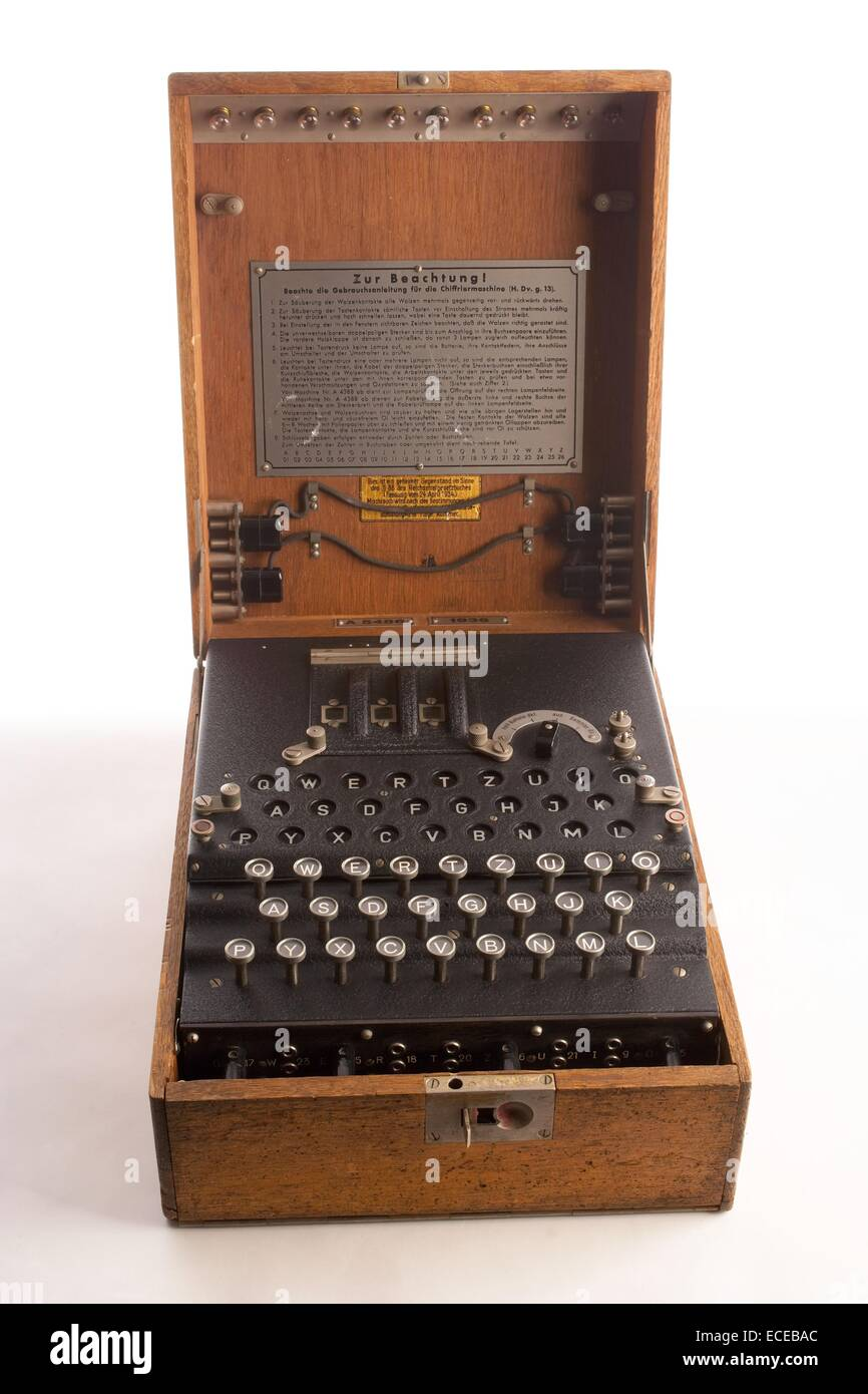 The Nazi German Enigma cipher machine used during World War II to develop nearly unbreakable codes for sending messages. Stock Photo
